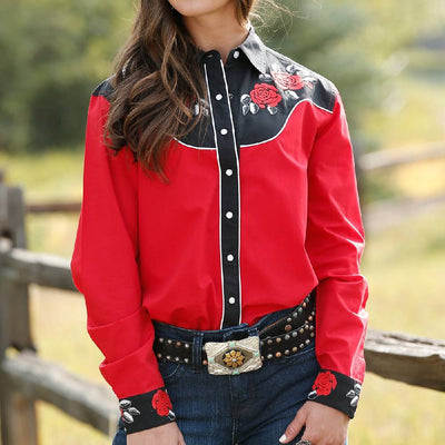 Cruel Denim Embroidered Western Shirt WOMEN - Clothing - Tops - Long Sleeved Cruel Denim Teskeys