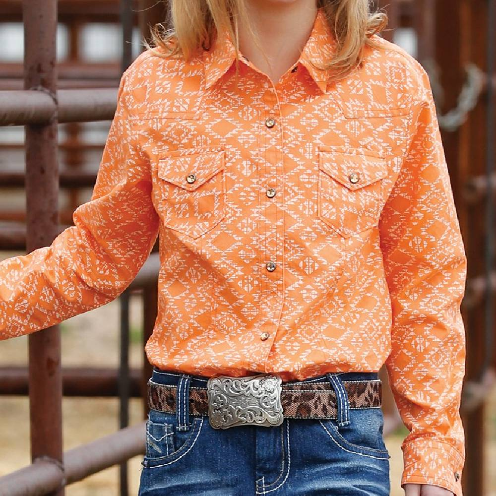Cruel Girls Southwest Print Snap Shirt KIDS - Girls - Clothing - Tops - Long Sleeve Tops CINCH Teskeys