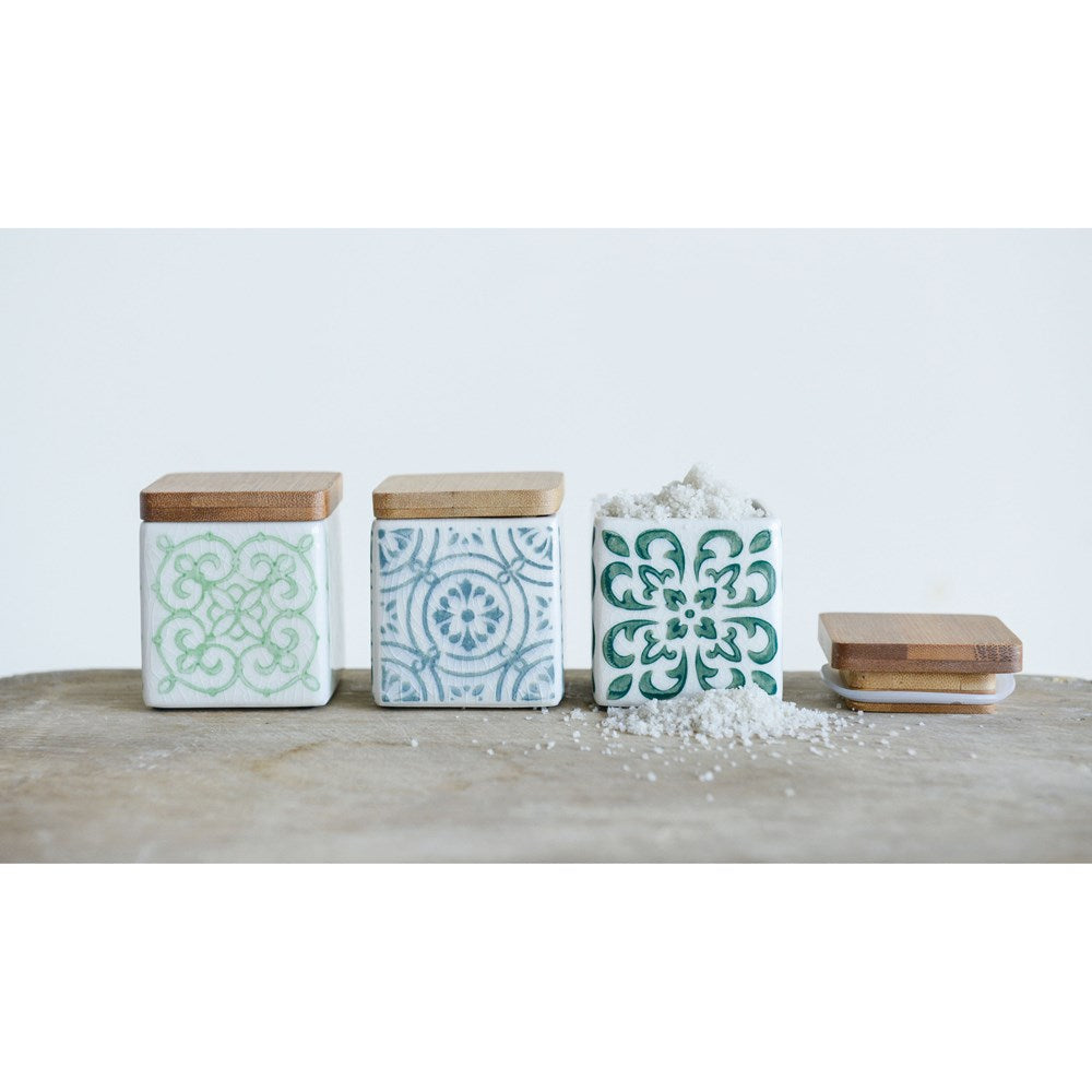 Square Stoneware Canisters w/ Bamboo Lid Home & Gifts - Home Decor - Decorative Accents Creative Co-Op Teskeys