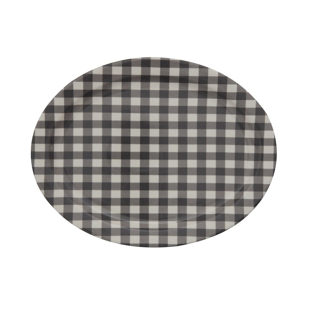 Gingham Stoneware Platter Home & Gifts - Tabletop + Kitchen - Serveware Creative Co-op Teskeys