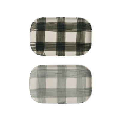 Hand-Painted Buffalo Check Platter HOME & GIFTS - Tabletop + Kitchen - Serveware & Utensils Creative Co-op Teskeys