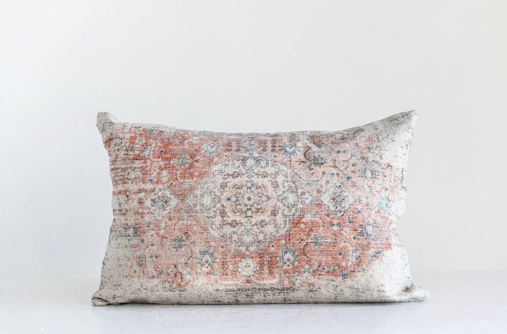 Cotton Distressed Print Lumbar Pillow HOME & GIFTS - Home Decor - Decorative Accents Creative Co-op Teskeys