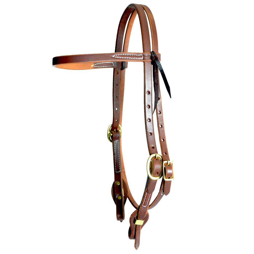 "Teskey's 5/8"" Harness Leather Browband with Quick Change Tack - Headstalls Teskey's Teskeys"