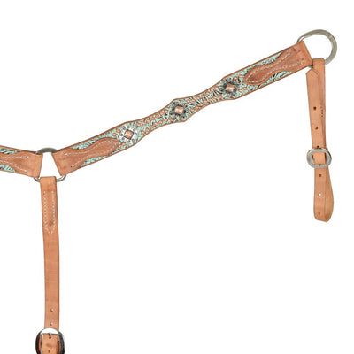 Teskey's Turquoise Scalloped Breastcollar With Spots Tack - Breast Collars Teskey's Teskeys