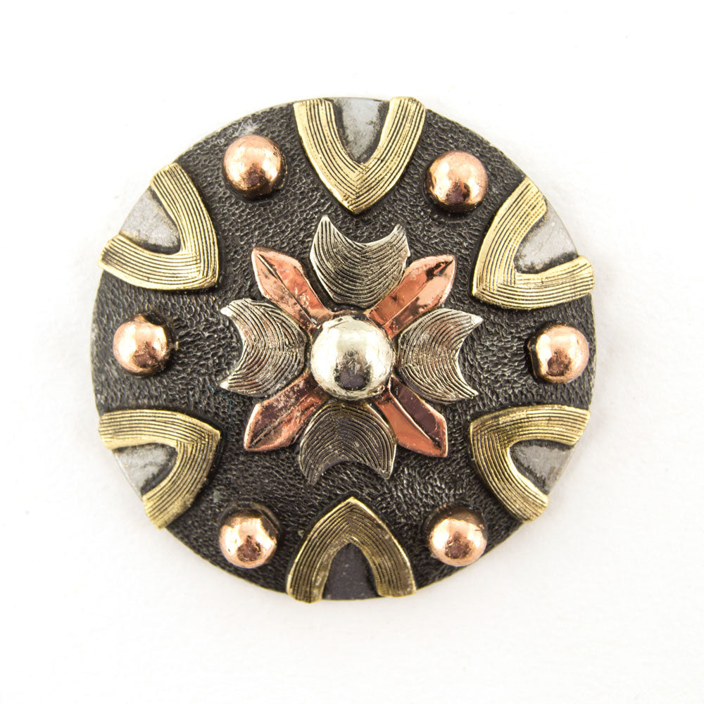 Antique Center Flower with Copper Dots Concho Tack - Conchos & Hardware - Conchos Teskeys Teskeys