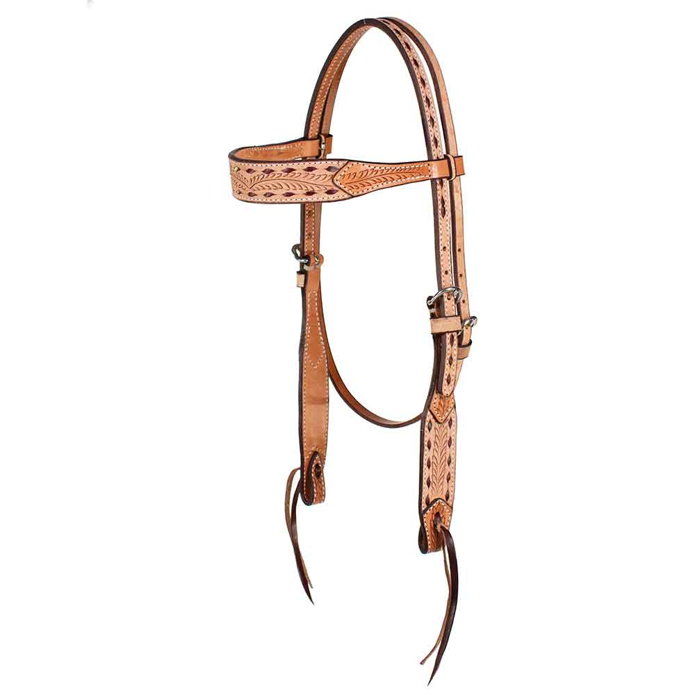 Teskey's Roughout Buckstitched Browband Headstall Tack - Headstalls - Browband Teskey's Teskeys