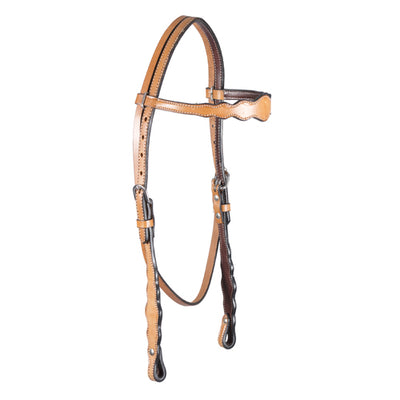Teskey's Light Oil Scalloped Browband Headstall Tack - Headstalls Teskey's Teskeys