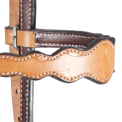 Teskey's Light Oil Scalloped Browband Headstall Tack - Headstalls - Browband Teskey's Teskeys