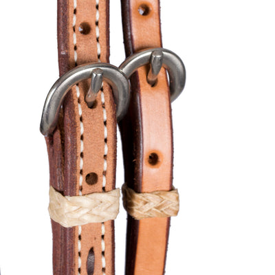 "Teskey's 3/4"" Roughout Buckstitch Browband Headstall w/ Rawhide Accents Tack - Headstalls - Browband Teskey's Teskeys"