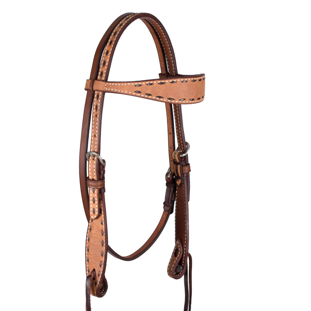 Teskey's Roughout Buckstitch  Browband Headstall Tack - Headstalls - Browband Teskey's Teskeys