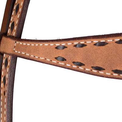 Teskey's Roughout Buckstitch  Browband Headstall Tack - Headstalls Teskey's Teskeys
