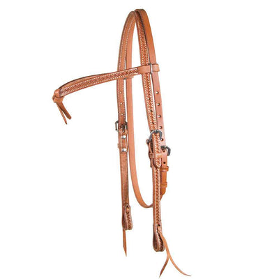 Old World Harness Basket Stamped Crossover Headstall