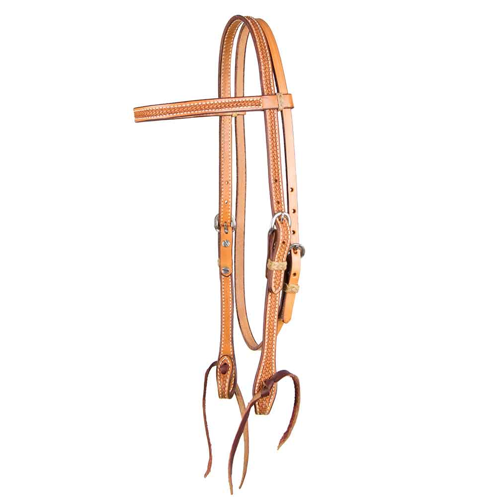 Teskey's Basket Stamped Browband Headstall Tack - Headstalls - Browband Teskey's Teskeys