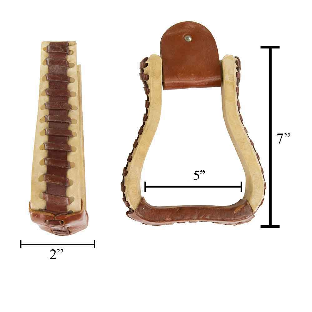 "Teskey's 2"" Rawhide Bell Stirrups with Leather Tread Saddles - Saddle Accessories Teskey's Teskeys"