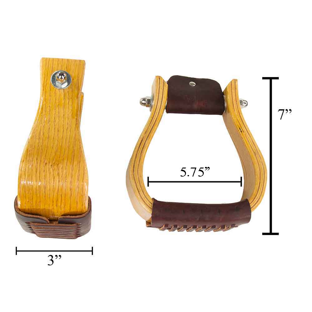 "3"" Oak Wood Bell Stirrups Saddles - Saddle Accessories Teskeys Teskeys"