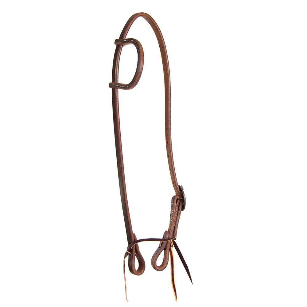 Teskey's Dark Oil One Ear Headstall with Decorative Buckle Tack - Headstalls - Browband Teskey's Teskeys