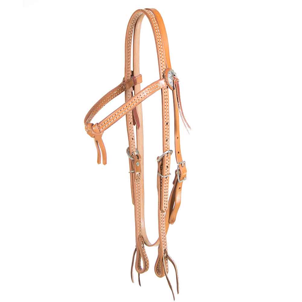 Light oil browband headstall w/ Concho Accents Tack - Headstalls - Browband Teskeys Teskeys