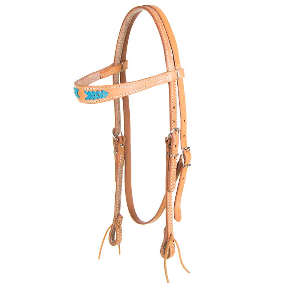 Light Oil Browband Headstall w/ Turquoise Stitching Tack - Headstalls - Browband Teskeys Teskeys