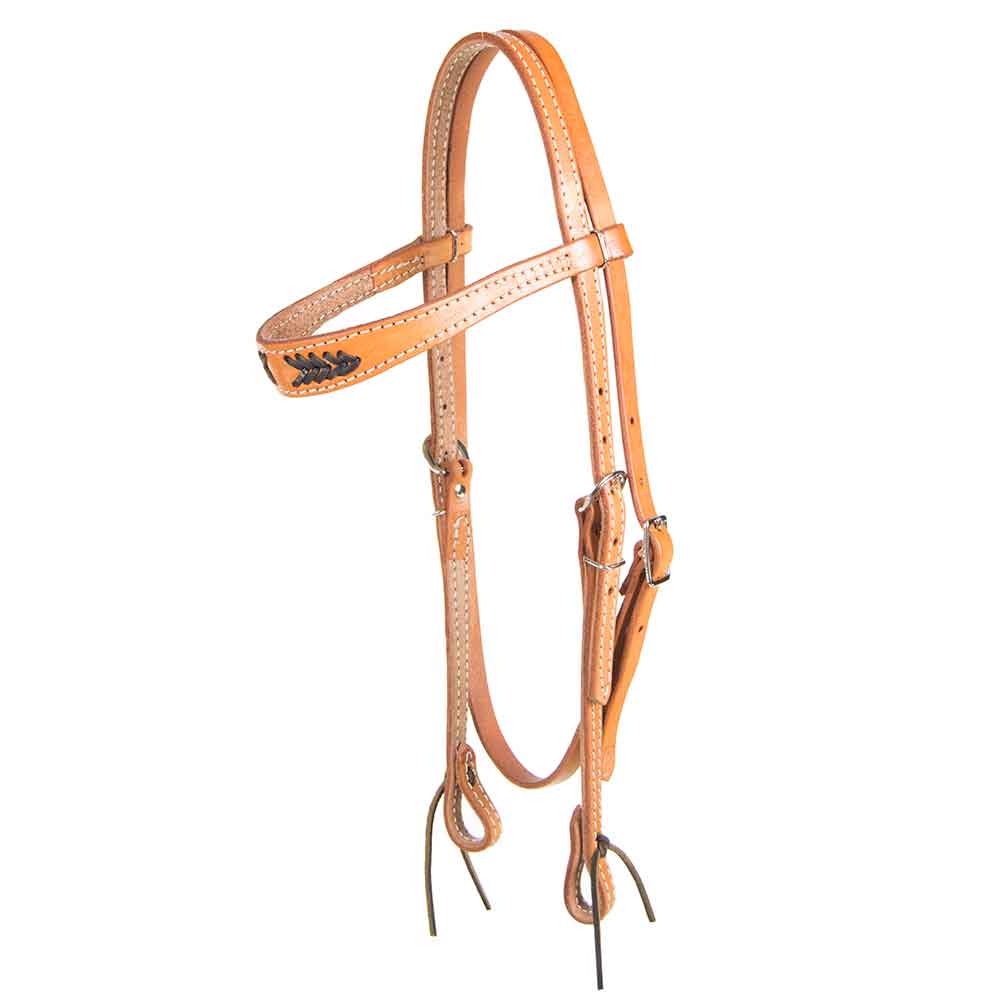 Light Oil Browband Headstall- brown Stitching Tack - Headstalls - Browband Teskeys Teskeys