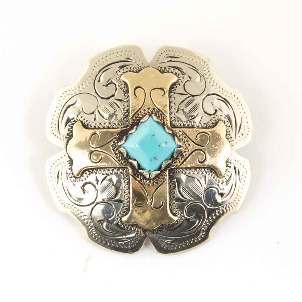 White Gold Cross Concho With Turquoise Stone Tack - Conchos & Hardware - Conchos Teskeys Teskeys
