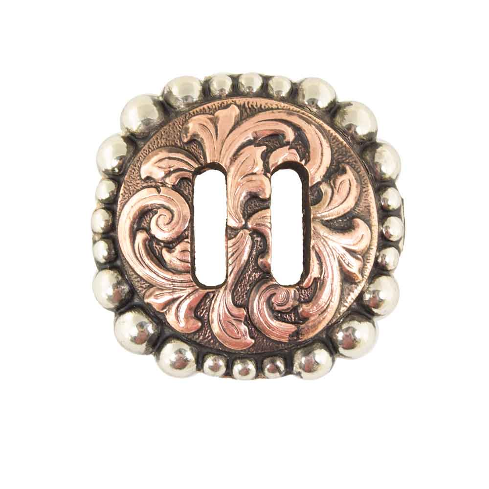 Slotted Antique Floral Copper And Dot Concho Tack - Conchos & Hardware - Conchos Teskeys Teskeys