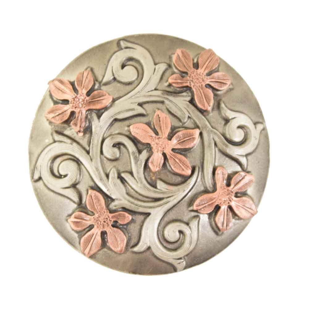Antique Copper Flower Scroll Tack - Conchos & Hardware - Conchos Teskeys Teskeys