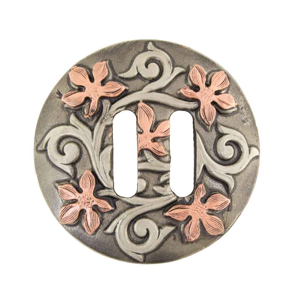 Slotted ANTIQUE COPPER FLOWER SCROLL Tack - Conchos & Hardware - Conchos Teskeys Teskeys