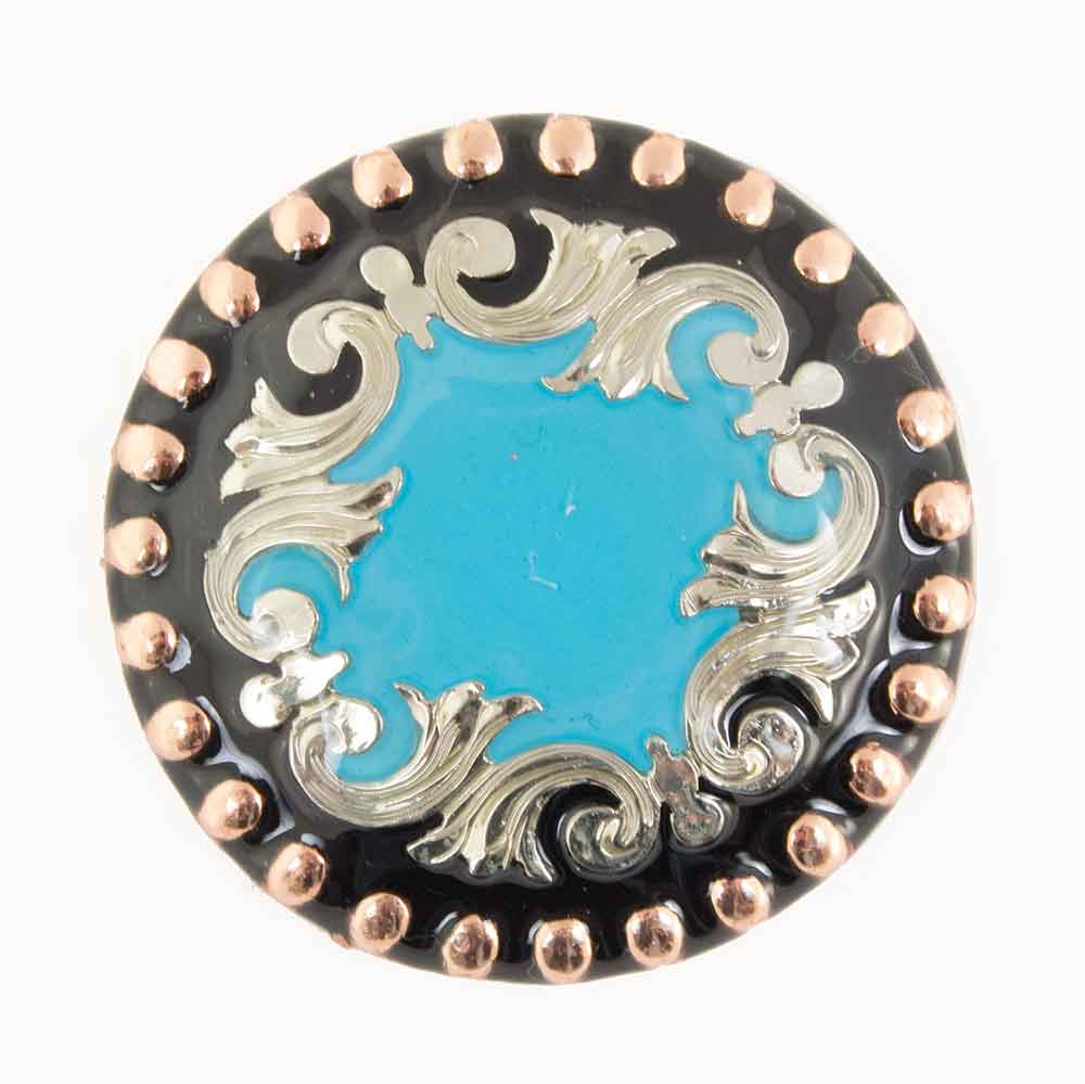 Blue And Copper Scroll Concho