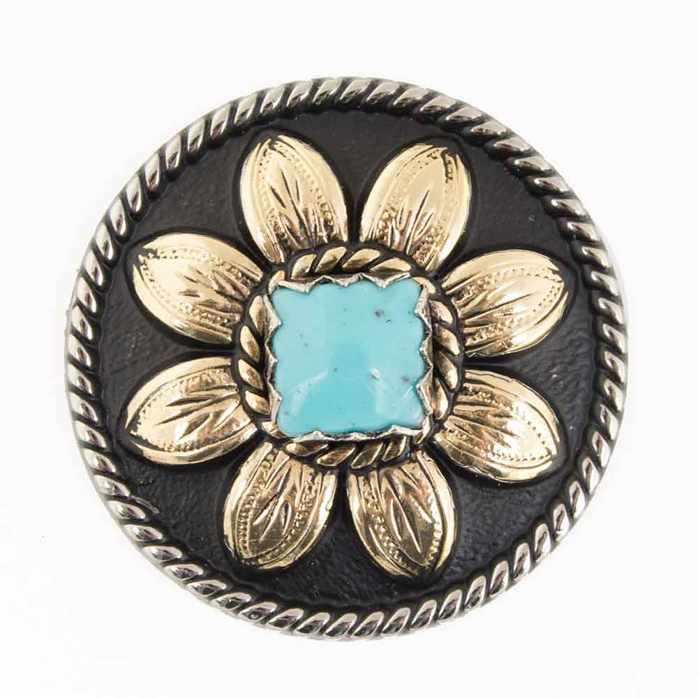 Gold Sunflower Concho With Turquoise Stone Tack - Conchos & Hardware - Conchos Teskeys Teskeys