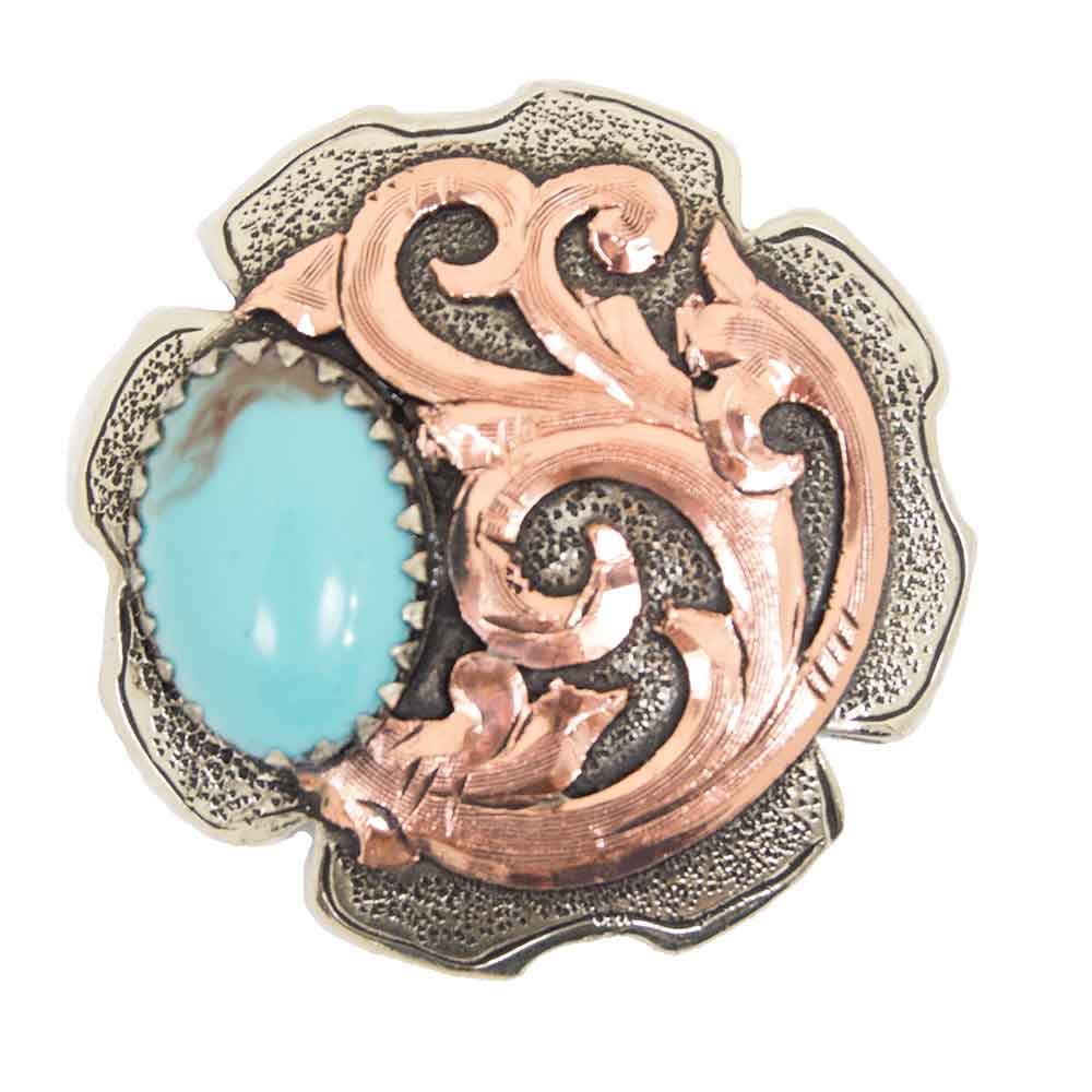 Turquoise Stone Concho With Copper Scroll