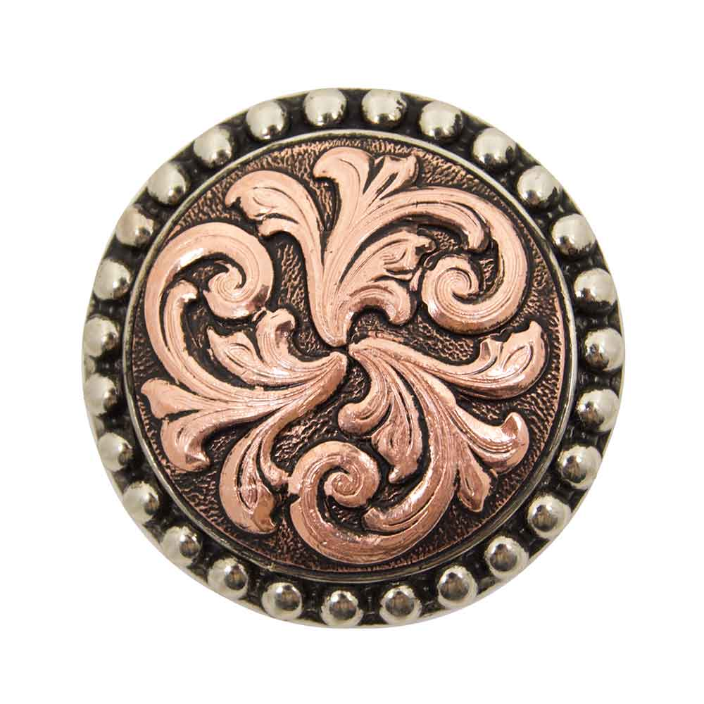 Copper Scroll Concho With Dot Border Tack - Conchos & Hardware - Conchos Teskeys Teskeys