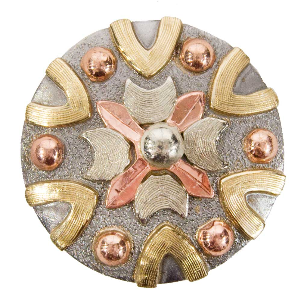 Silver Center Flower with Copper Dots Concho Tack - Conchos & Hardware - Conchos Teskeys Teskeys