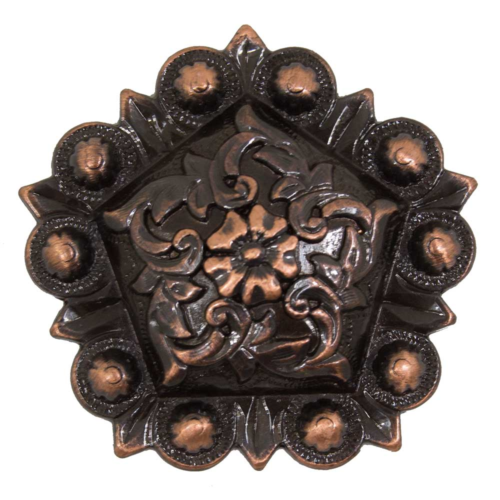Floral Copper Pentagon Concho