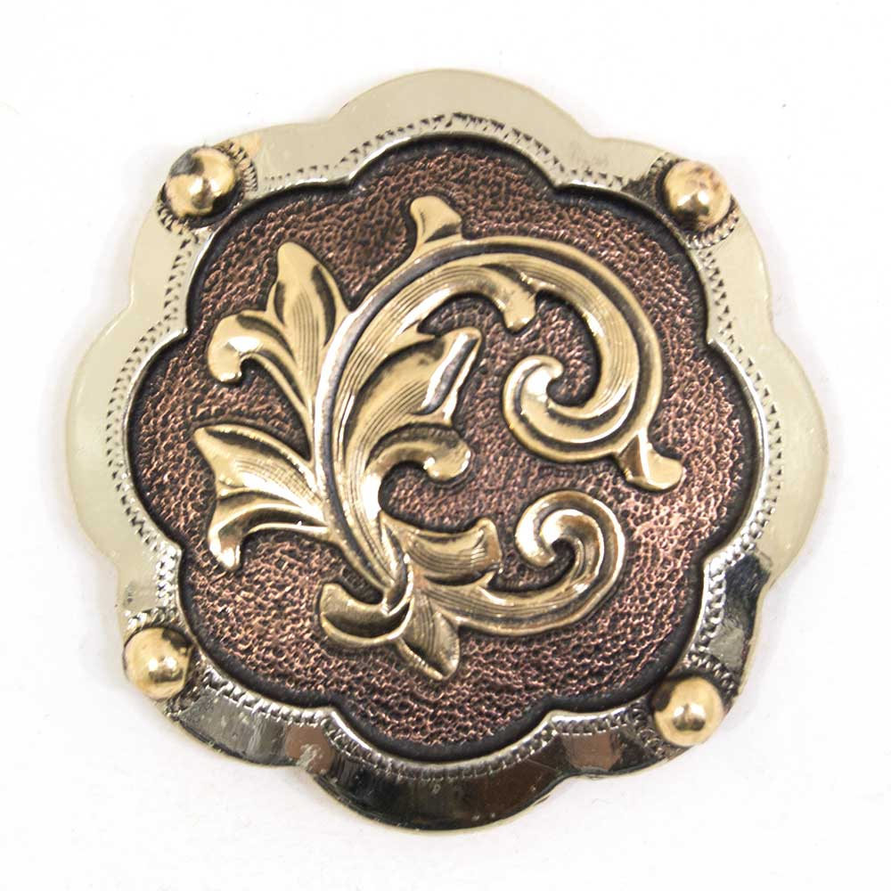 Brass Scroll Concho with Silver Border Tack - Conchos & Hardware - Conchos Teskeys Teskeys