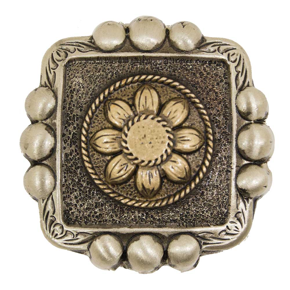 Antique Silver and Gold Flower Concho Tack - Conchos & Hardware Teskeys Teskeys