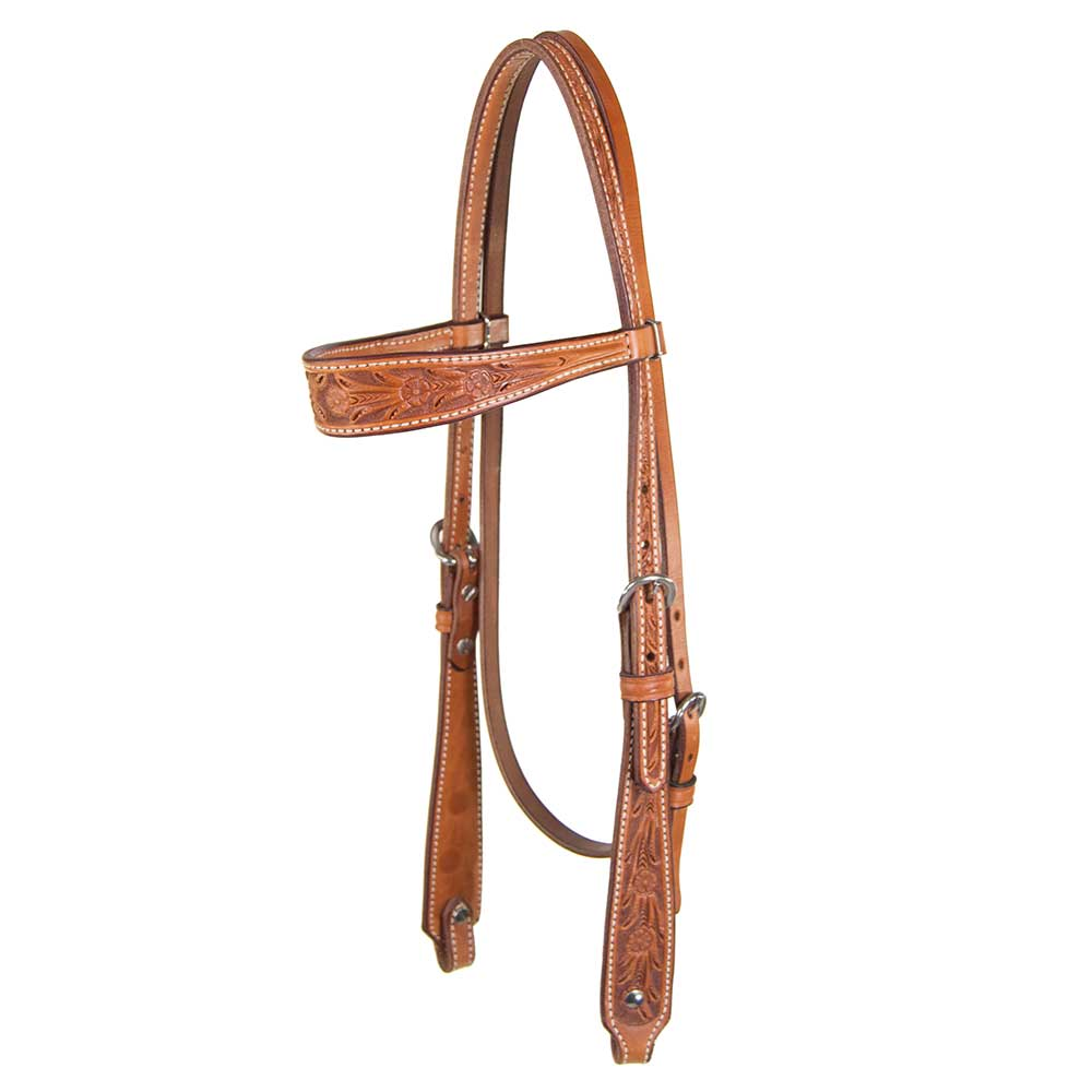 Teskey's Floral Tooled Browband Headstall Tack - Headstalls Teskey's Teskeys