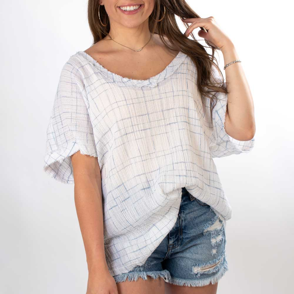 Dylan Crushed Plaid Pullover Top WOMEN - Clothing - Tops - Short Sleeved DYLAN Teskeys