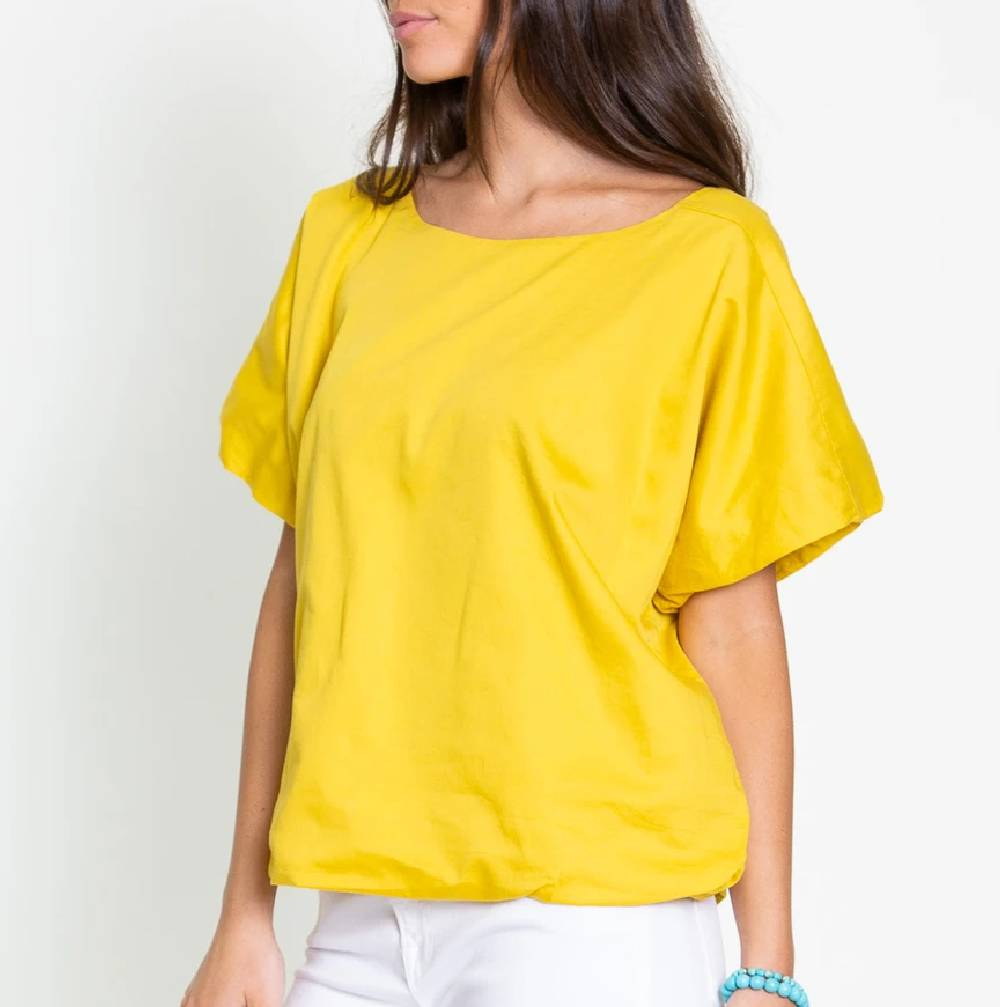 Dylan Double Layer Mellow Yellow Crew Blouse