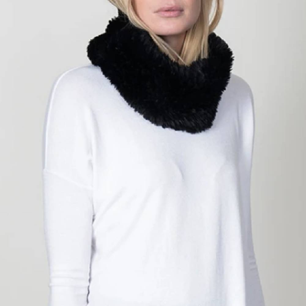 Dylan Knit Fur Neck Warmer-Black ACCESSORIES - Additional Accessories - Wild Rags & Scarves DYLAN Teskeys