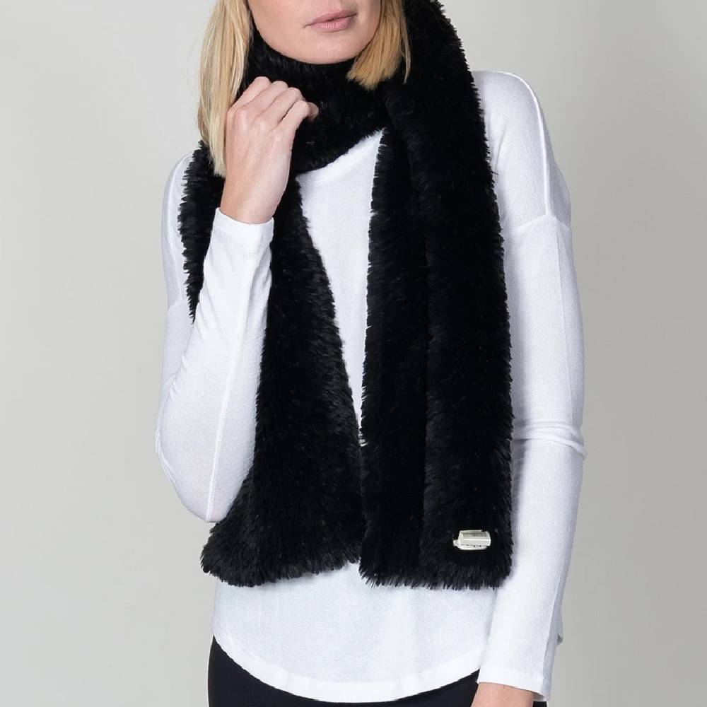 Dylan Knitted Fur Scarf-Black ACCESSORIES - Additional Accessories - Wild Rags & Scarves DYLAN Teskeys