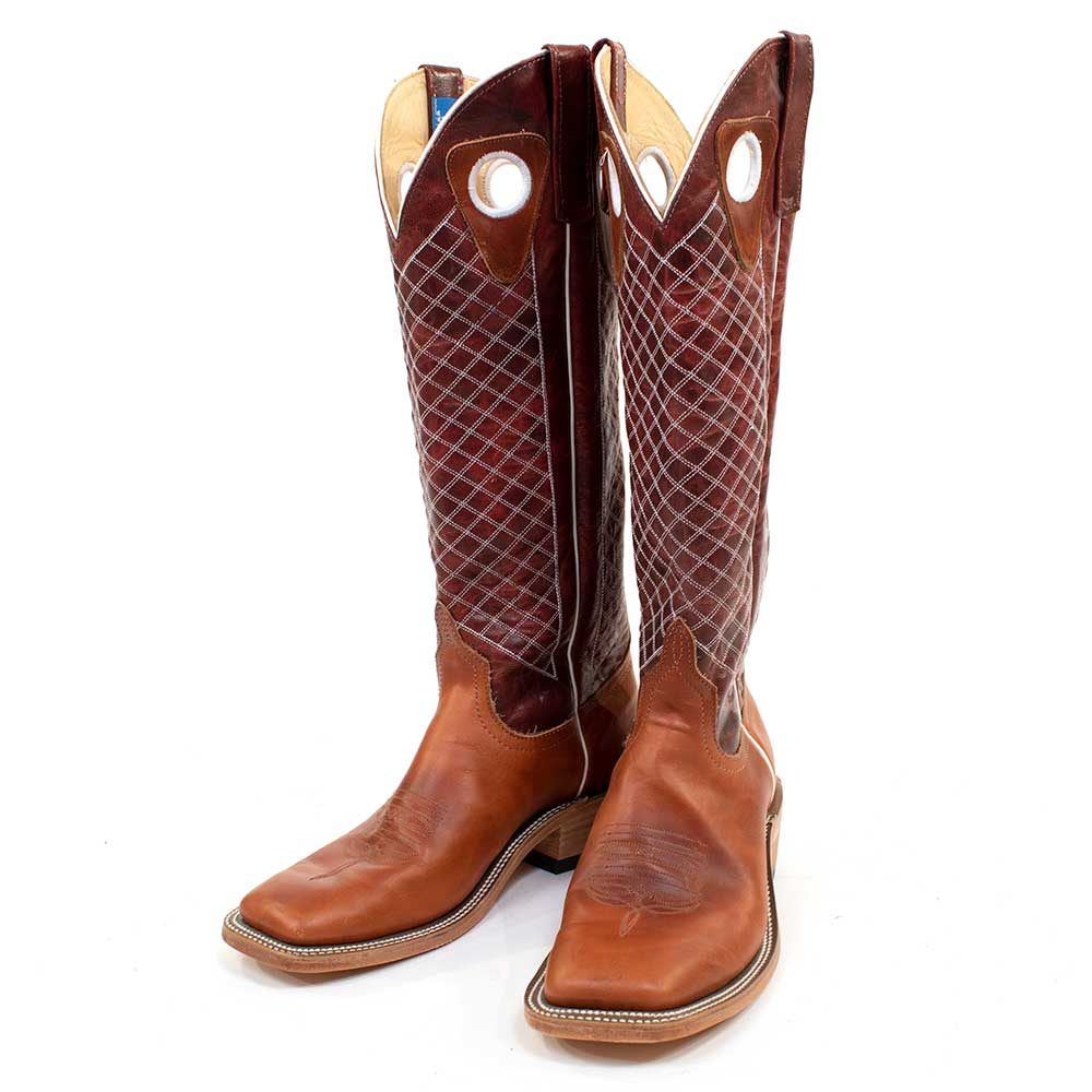 Anderson Bean Tan Latigo/Red Explosion Tall Top Boot 8.5D MEN - Footwear - Western Boots ANDERSON BEAN BOOT CO. Teskeys