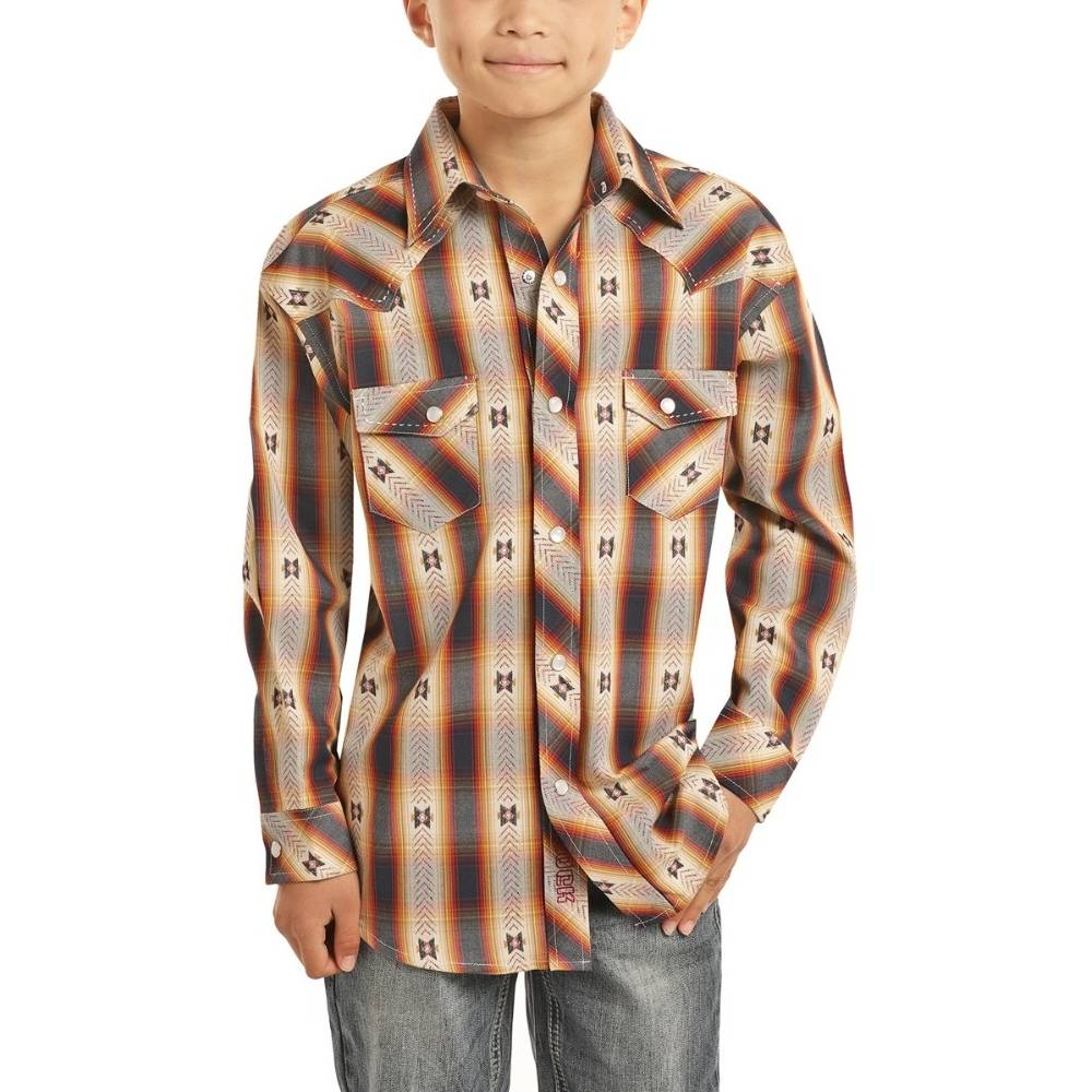 Boys Panhandle Aztec Plaid Snap Shirt KIDS - Boys - Clothing - Shirts - Long Sleeve Shirts Panhandle Teskeys