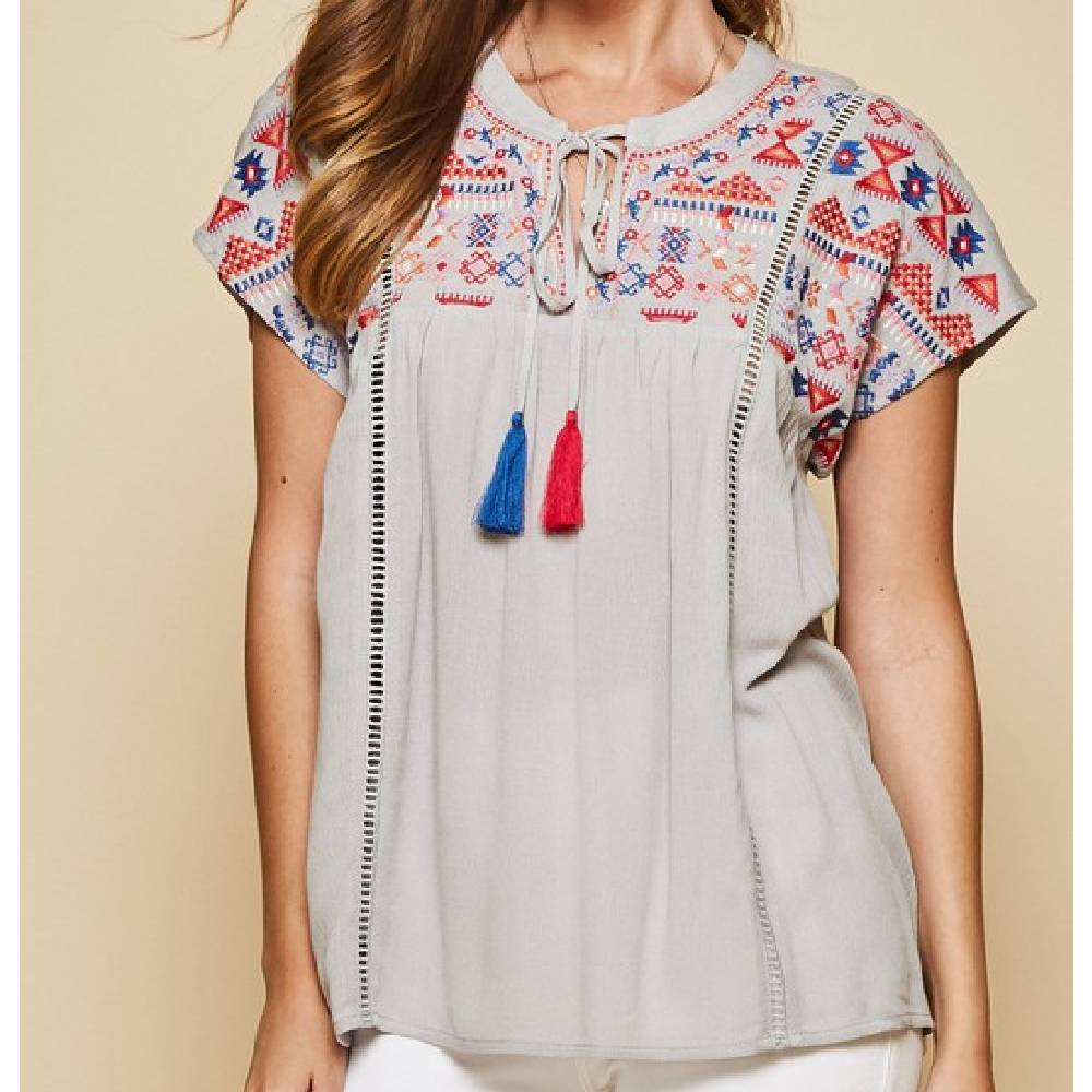 Embroidered Tassle Top
