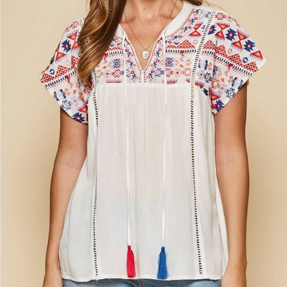 Embroidered Tassle Top WOMEN - Clothing - Tops - Short Sleeved ANDREE BY UNIT FASHION Teskeys