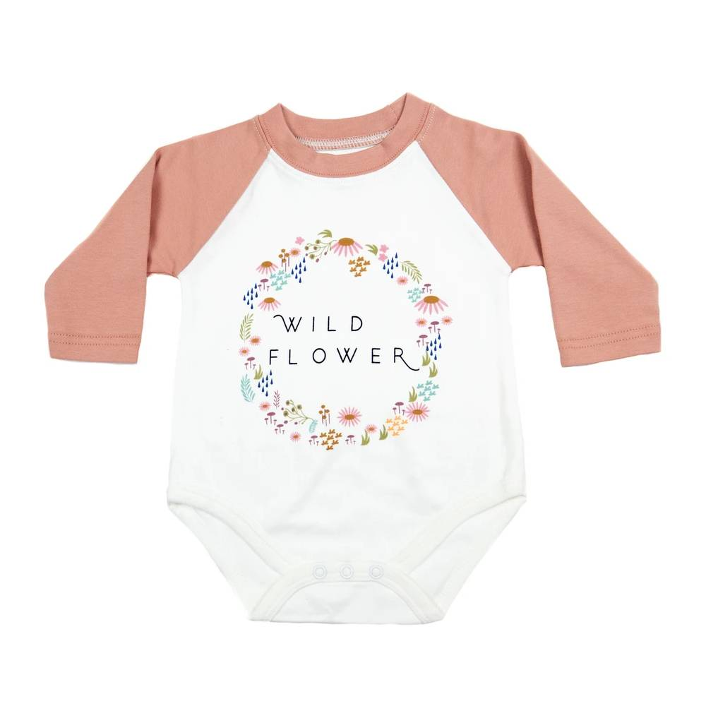 Wildflower Baseball Style Onesie KIDS - Baby - Baby Girl Clothing EMERSON AND FRIENDS Teskeys