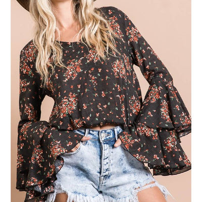 Floral Ruffle Sleeve Blouse WOMEN - Clothing - Tops - Long Sleeved Bucket List Teskeys