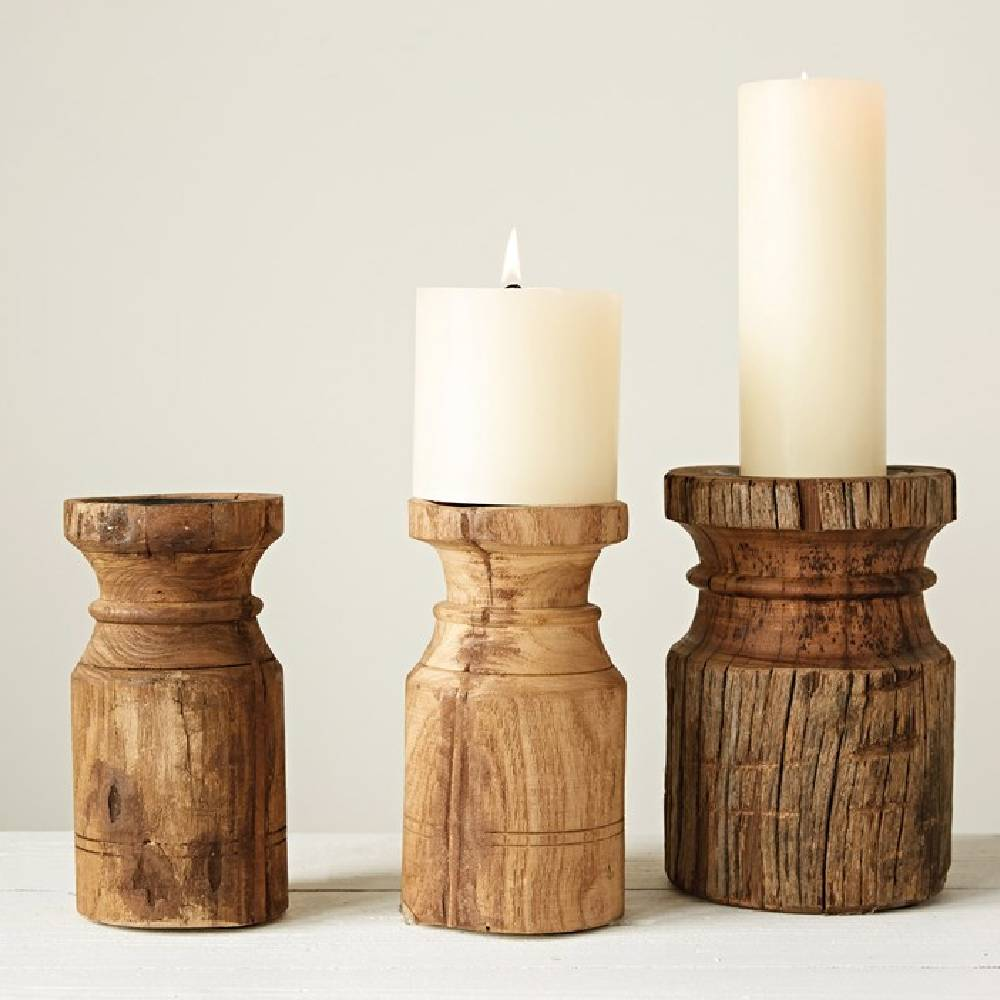 Found Wood Carved Candle Holder HOME & GIFTS - Home Decor - Decorative Accents Creative Co-Op Teskeys