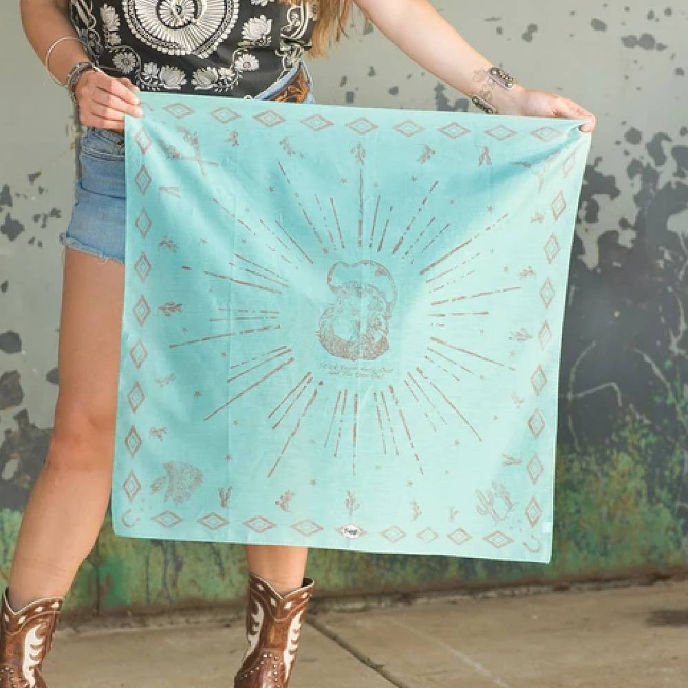 Retro Rags Shorty - Aqua WOMEN - Accessories - Scarves & Wraps FRINGE SCARVES Teskeys