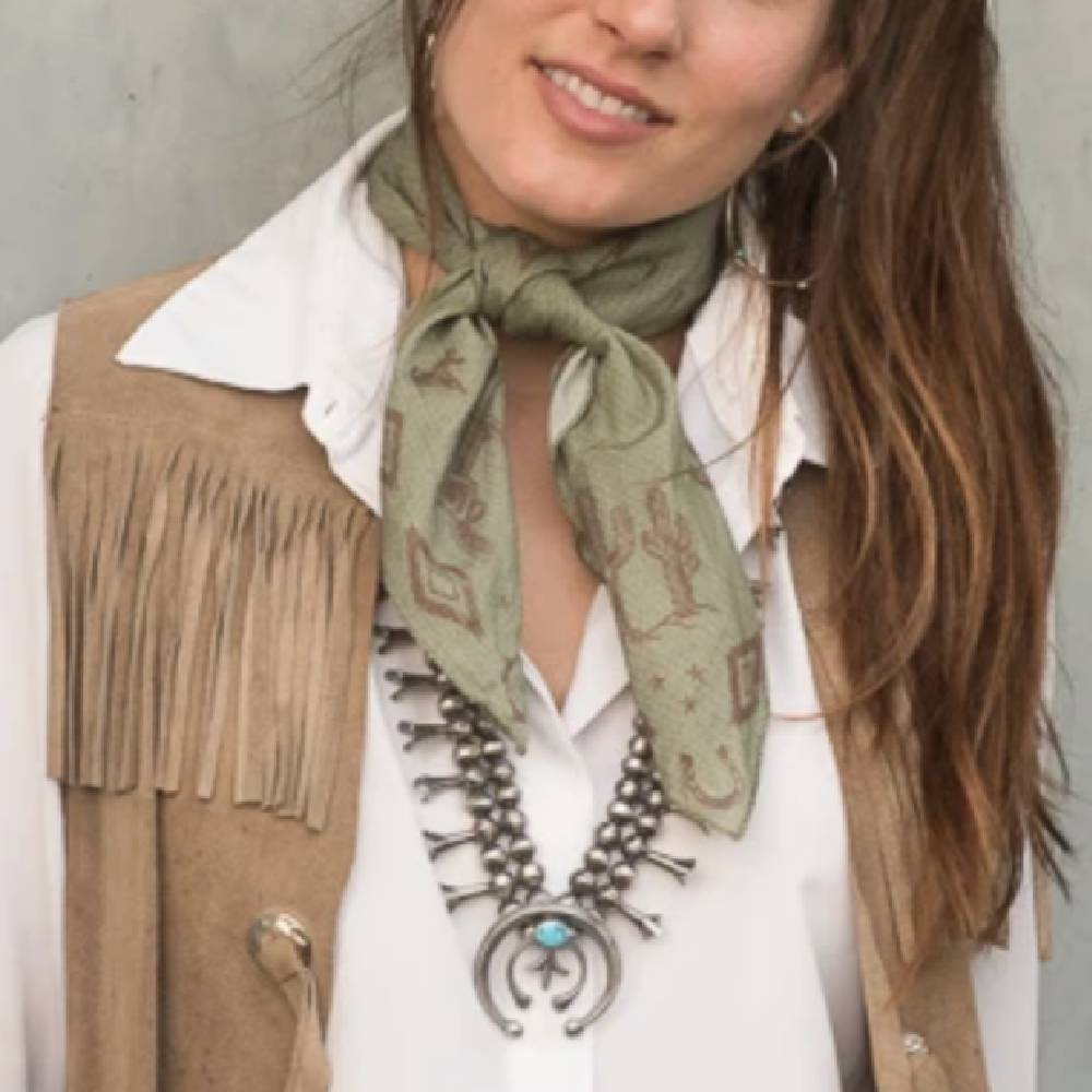 Retro Rags Shorty - Olive WOMEN - Accessories - Scarves & Wraps FRINGE SCARVES Teskeys