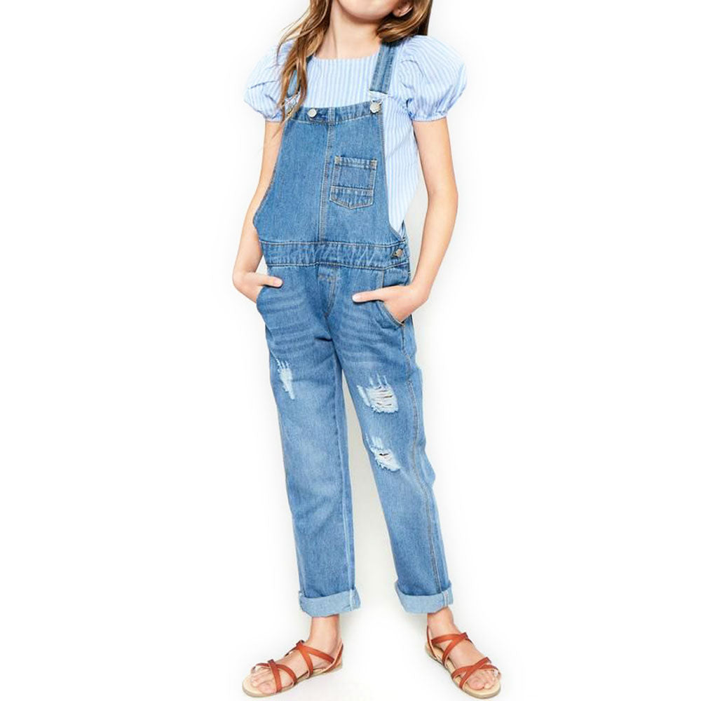 Girls Distressed Denim Overalls KIDS - Girls - Clothing - Jumpers & Rompers HAYDEN LOS ANGELES Teskeys